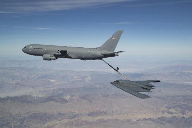 KC-46A refuels B-2 Spirit