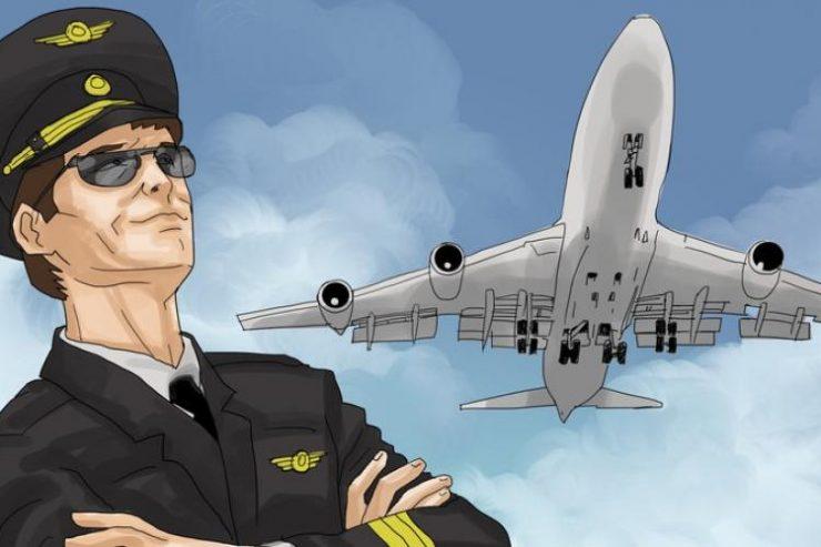 ilustrasi pilot dan pesawat