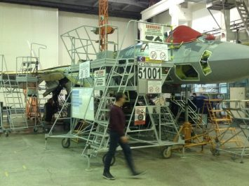 Su-57 at its plant