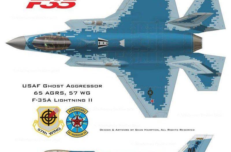 Tujuh rancangan F-35A Skadron Agresor USAF, ada Skema Hantu Su-57