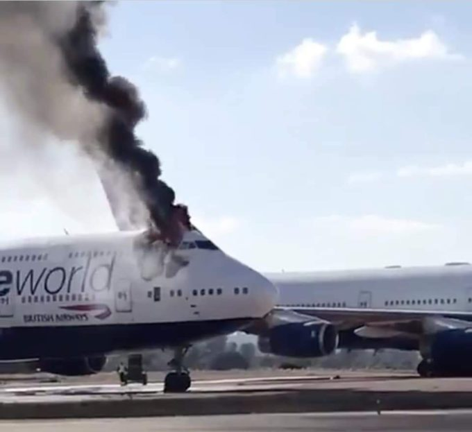 747-BA terbakar di Spanyol