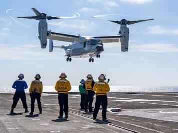 CMV-22B Osprey first landing on aircraft carrier