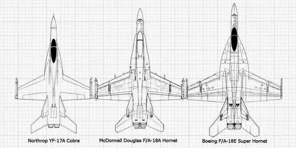 Perbandingan dimensi Cobra dengan Super Hornet.