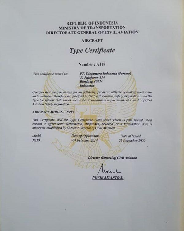 Type Certificate untuk N219