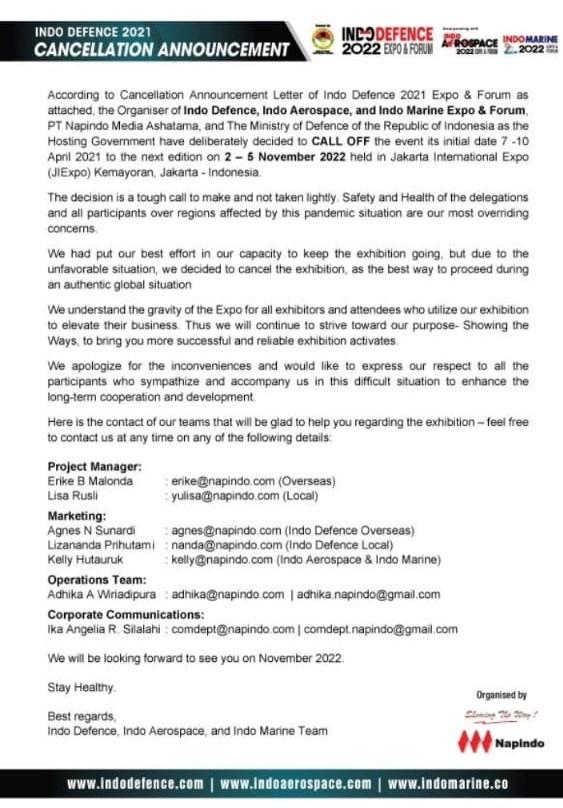 Indo Defence 2021 cancellation