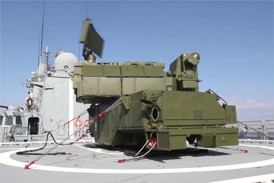Tor-M2 naval version onboard a Russian Navy Ship for testing