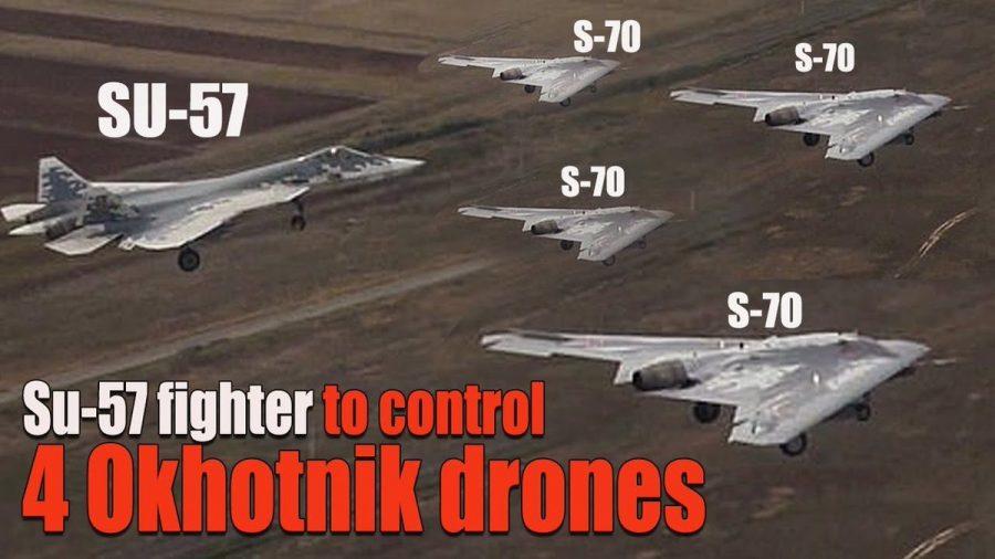 Su-57 control 4 okhotnik drones