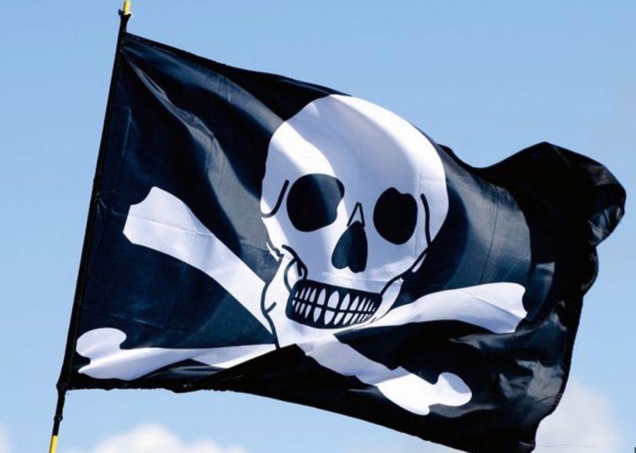 Bendera hitam bergambar tengkorak