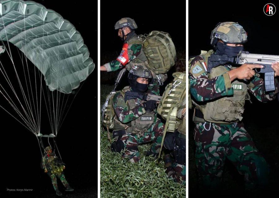 Terjun Tempur Malam Hari Korps Marinir